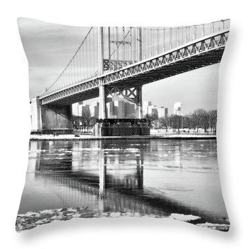 A Winter Portrait Of The Triboro Bridge Throw Pillow