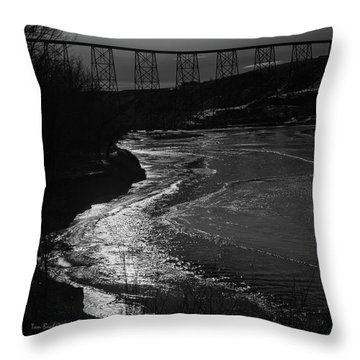 A Winter River Throw Pillow