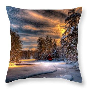 A Winter Sunset Throw Pillow
