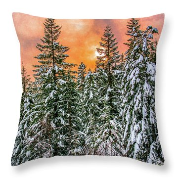 A Winters Sky Set Ablaze Throw Pillow