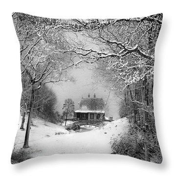 A Winter's Tale In Centerport New York Throw Pillow