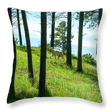 A Wolf Among The Trees  Throw Pillow