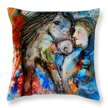A Woman And Her Horse Throw Pillow