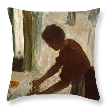 Throw Pillow featuring the painting A Woman Ironing by Edgar Degas