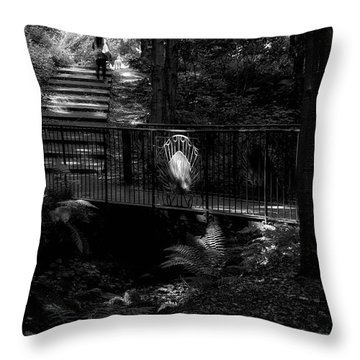 Throw Pillow featuring the photograph A Woman Walking Her Dog At Pittencrieff Park by Jeremy Lavender Photography