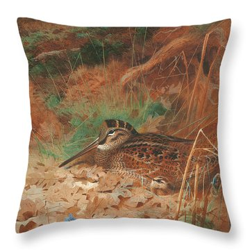 A Woodcock And Chick In Undergrowth Throw Pillow by Archibald Thorburn
