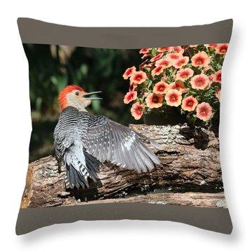 A Woodpecker Conversation Throw Pillow