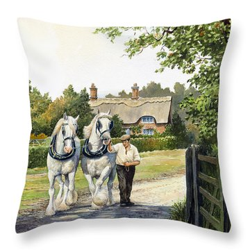 A Working Day Throw Pillow