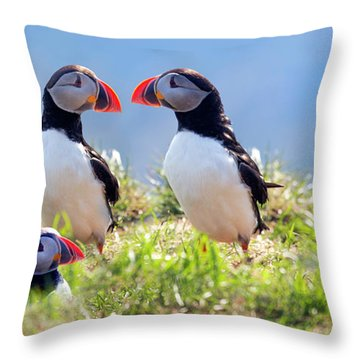 A World Of Puffins Throw Pillow