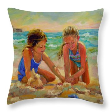 Throw Pillow featuring the painting A World Of Their Own by Chris Brandley