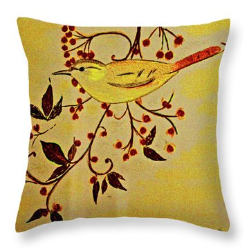 A Wren - In Pastel  Throw Pillow