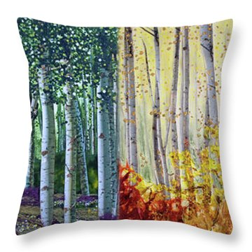 A Year In A Birch Forest Throw Pillow