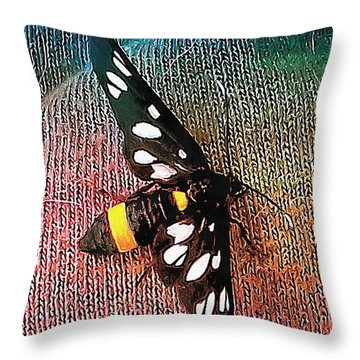 A Yellow Belted Burnet Throw Pillow