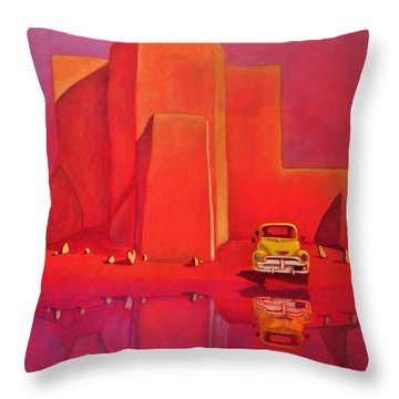A Yellow Truck With A Red Moon In Ranchos Throw Pillow