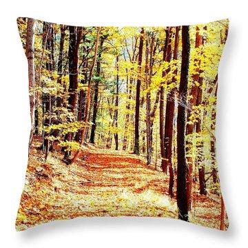 A Yellow Wood Throw Pillow