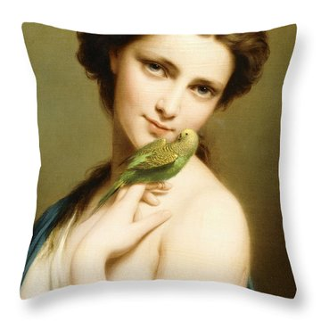 A Young Beauty With A Parakeet Throw Pillow