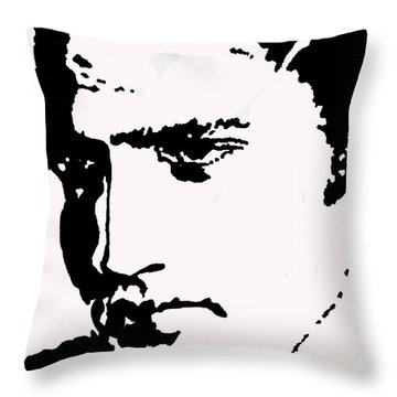 Throw Pillow featuring the drawing A Young Elvis by Robert Margetts