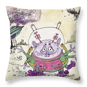 I Have Come From Mars.... I Think..... Throw Pillow by Charles Cater