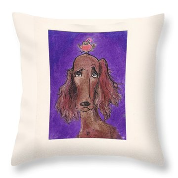 a7  Christmas Setter Throw Pillow by Charles Cater