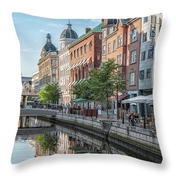 Throw Pillow featuring the photograph Aarhus Afternoon Canal Scene by Antony McAulay