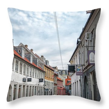 Throw Pillow featuring the photograph Aarhus Backstreet Scene by Antony McAulay