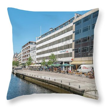 Throw Pillow featuring the photograph Aarhus Canal Activity by Antony McAulay