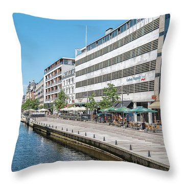 Throw Pillow featuring the photograph Aarhus Canal Scene by Antony McAulay