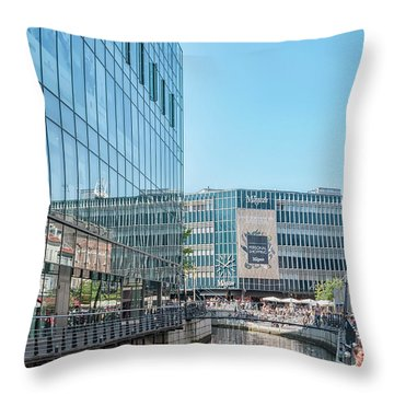 Throw Pillow featuring the photograph Aarhus Lunchtime Canal Scene by Antony McAulay