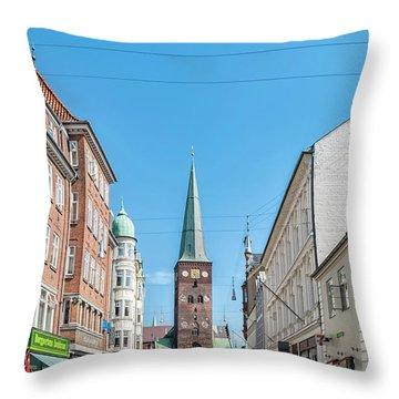 Throw Pillow featuring the photograph Aarhus Street Scene by Antony McAulay