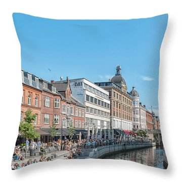 Throw Pillow featuring the photograph Aarhus Summertime Canal Scene by Antony McAulay