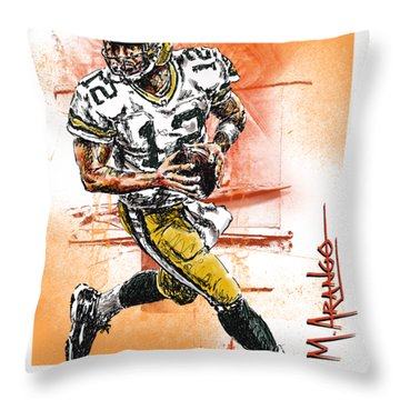 Aaron Rodgers Scrambles Throw Pillow