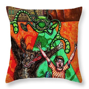 Aarron And Spacedog Chased By An Alien Throw Pillow