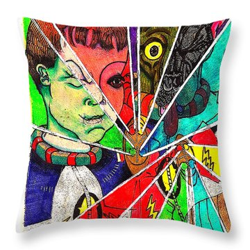 Aarron And Spacedog Use Non Lethal Freeze Rays Throw Pillow
