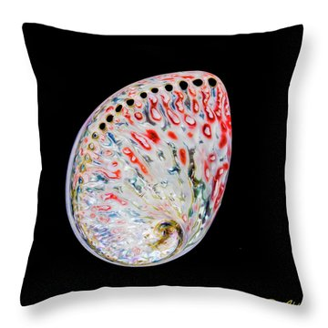 Throw Pillow featuring the photograph Abalone - Touches Of Red by Rikk Flohr