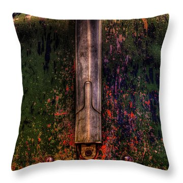 Abandoned 1937 Chevrolet Coupe Hood Detail Throw Pillow