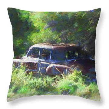 Abandoned 1950 Chevy Dop Throw Pillow