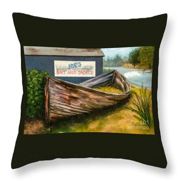 Painting Of Abandoned And Rotted Out Boat   Throw Pillow