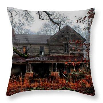 Abandoned Autumn Throw Pillow