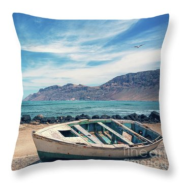 Abandoned Boat Throw Pillow by Delphimages Photo Creations