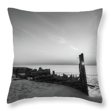 Abandoned Boat Sunset Bw Throw Pillow