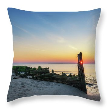 Abandoned Boat Sunset  Throw Pillow