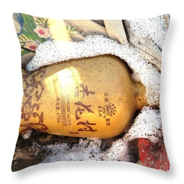 Throw Pillow featuring the photograph Abandoned Bottle by Ethna Gillespie