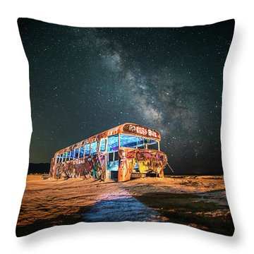Abandoned Bus Under The Milky Way Throw Pillow