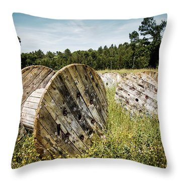 Abandoned Cable Reels Throw Pillow