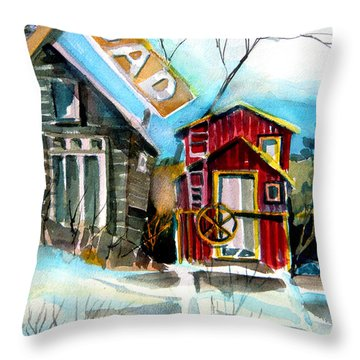 Abandoned Caboose Throw Pillow by Mindy Newman