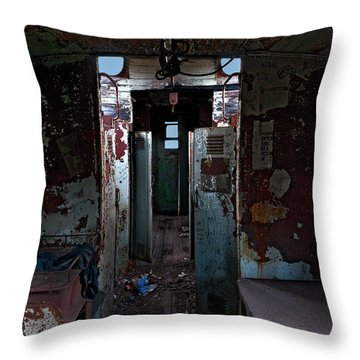 Abandoned Caboose Throw Pillow by Murray Bloom