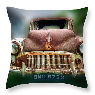Throw Pillow featuring the photograph Abandoned Car by Charuhas Images