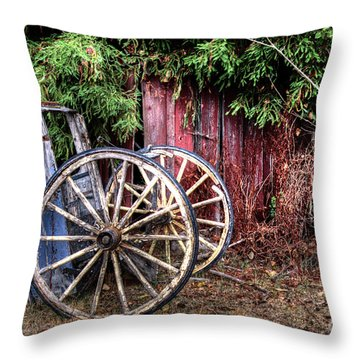 Throw Pillow featuring the photograph Abandoned Cart by Jim and Emily Bush