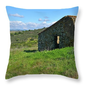 Abandoned Cottage In Alentejo Throw Pillow by Angelo DeVal