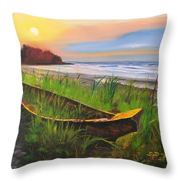 Throw Pillow featuring the painting Abandoned Dhow  by Sharon Duguay